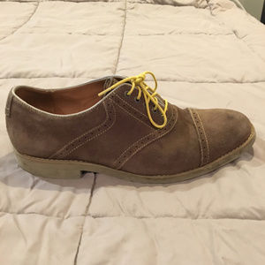 Johnston & Murphy Oxfords Grey Suede / Yellow Trim